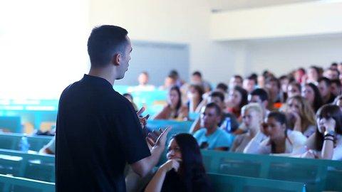 MONTENEGRO - PODGORICA 2013 -Teacher teaches students in the amphitheater
