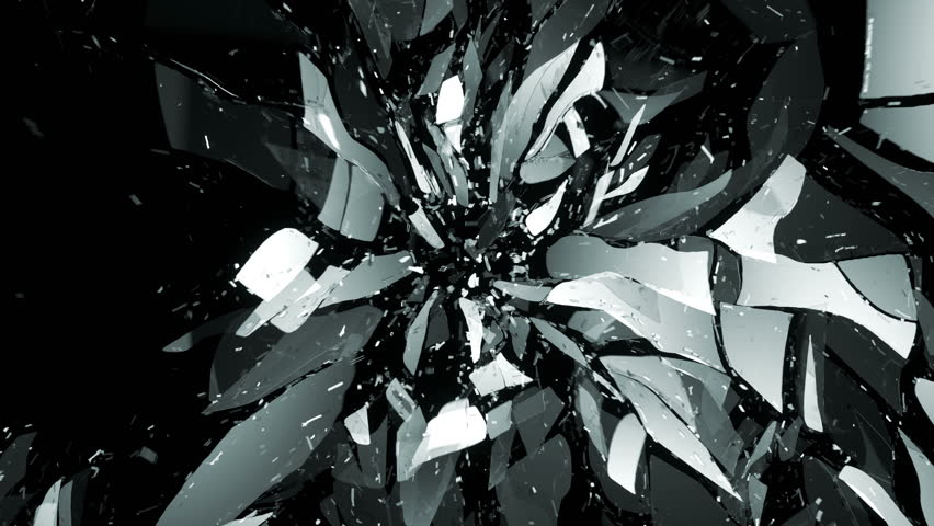 cracked and shattered black glass with slow motion alpha. Black Bedroom Furniture Sets. Home Design Ideas