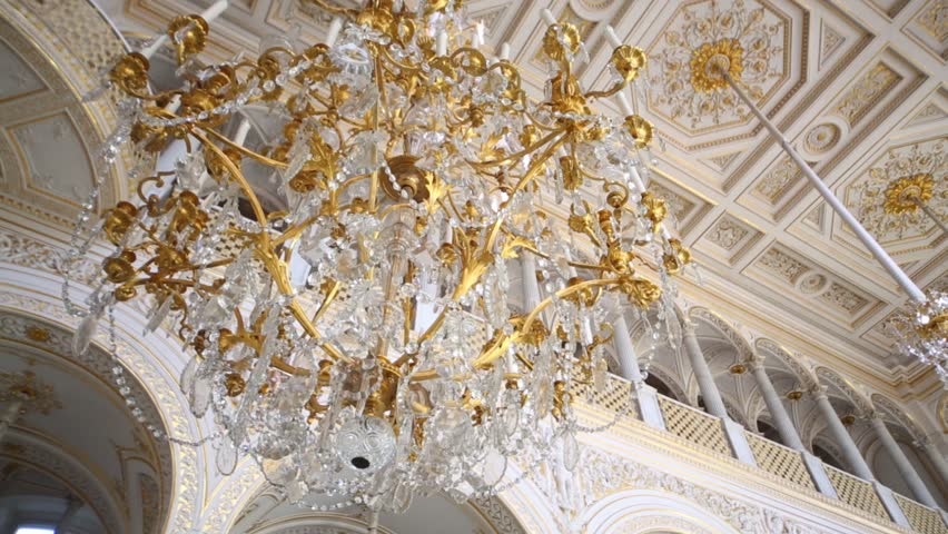 Beautiful Hanging Crystal Chandelier On Ceiling. Smooth Camera ...