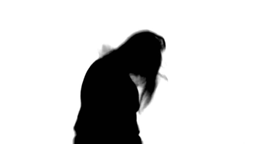 Silhouette of crazy obese man with long hairs. Mask Included. #7916758