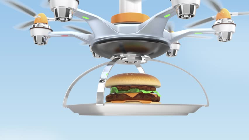 Drone Carrying Hamburger For Fast Food Delivery Concept Stockvideos Filmmaterial 7918738