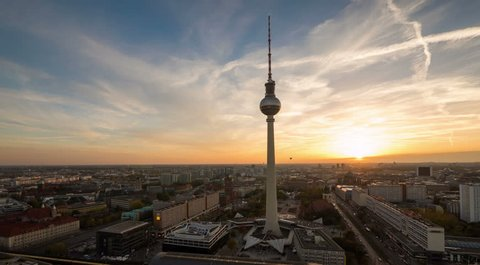 BERLIN - NOV 07: Timelpase view of the Berlin TV tower and skyline  one of the citys main tourist destinations on 07 November 2014 in Berlin, Germany