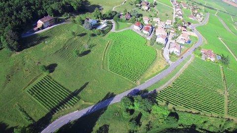 Switzerland aerial shot - Geneva country side Beautiful aerial shot of the swiss country side