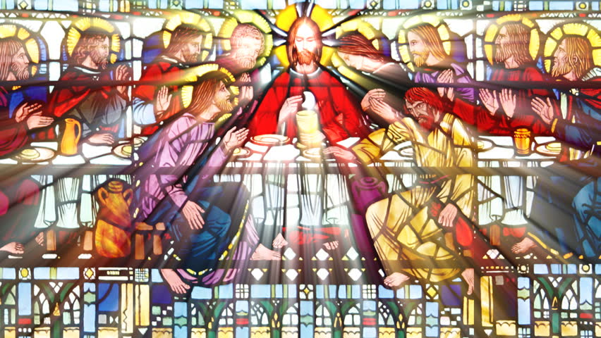 Sun shining through a stained glass roof  with the The last supper (Seamless Loop)