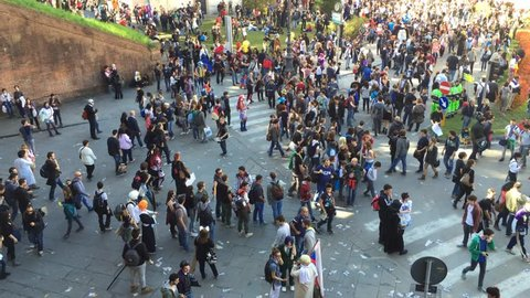 LUCCA, ITALY - NOVEMBER 1, 2014: Time Lapse of crowd in Lucca for the Lucca Comics festival. The event is the most important in the whole year for Lucca