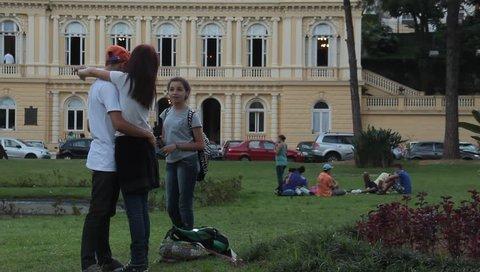 Petropolis, Brazil - circa November 2014: kids in front of mansion