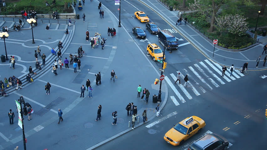 HD video taken of the streets of New York city with traffic and pedestrian.