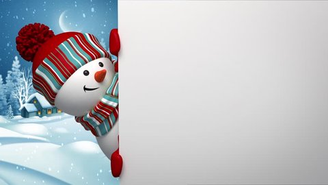 Christmas holiday background, snowman looking out the corner, greeting card template, Christmas village, alpha channel