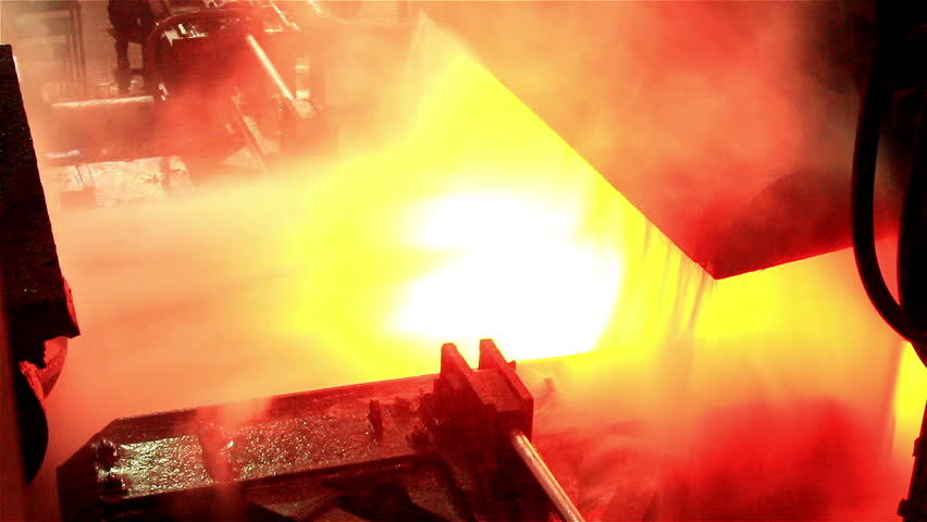 Hot slab are moving in mill, Production of steel plants that look very elegant, Background colorful of industry steel.  | Shutterstock HD Video #8032858