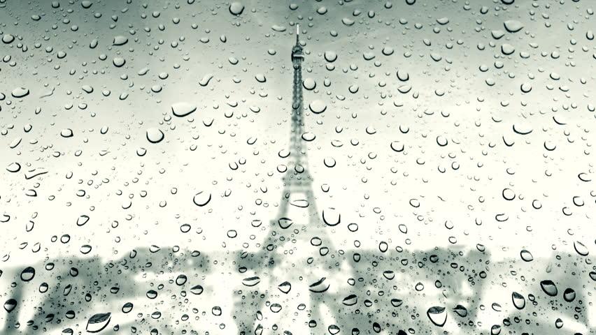 Tour Eiffel (Eiffel Tower) at rain drop  | Shutterstock HD Video #8051968