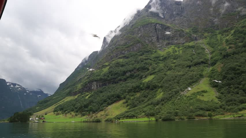 View to Sognefjord in Norway. Country landscape - HD stock video clip