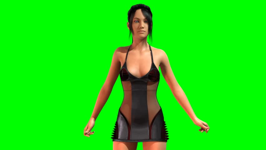 Hot Girl in sexy lingery dances - green screen