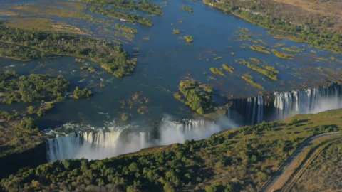 aerial view of victoria falls from helicopter one of the most famous waterfall in the world  a world heritage
