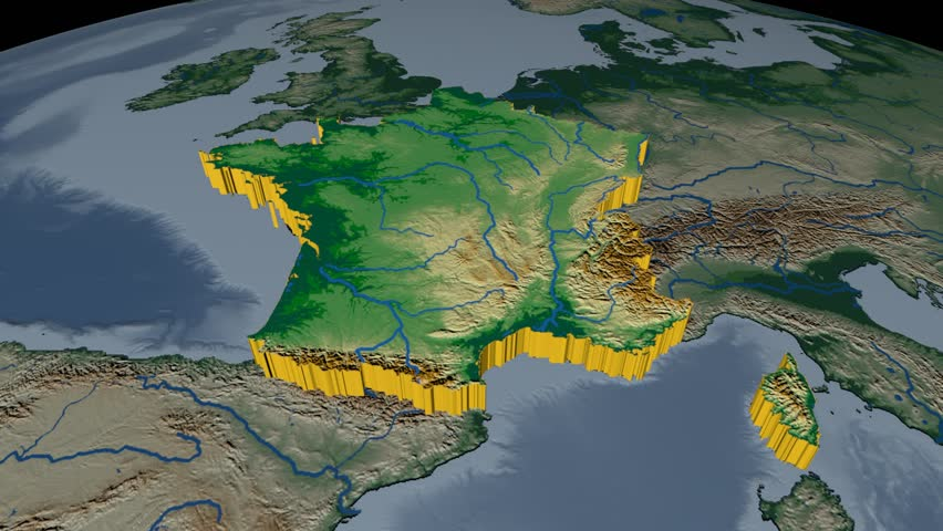France Extruded On The World Map Rivers And Lakes Shapes Added - World map by elevation
