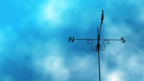 Weather Vane Change  animated loop of a weather vane blowing in the wind. As the clouds take a stormy turn midway through the vane switches direction completely.