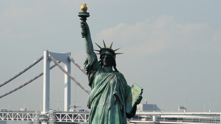 Replica Statue of Liberty with Peace Bridge in the Background  -  Tokyo Japan Circa September 2014 | Shutterstock HD Video #8109880