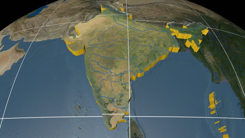 Night to day rotating earth zoom in on india outlined india extruded on the world map with graticule rivers and lakes shapes added high gumiabroncs Image collections