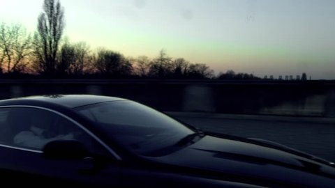 Aston Martin in London. Dusk