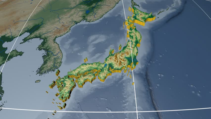 Alaska extruded on the world map with graticule rivers and lakes japan extruded on the world map with graticule rivers and lakes shapes added colored gumiabroncs Images