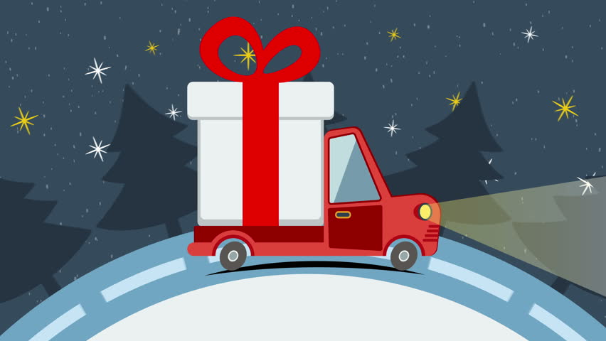 Christmas and New Year animated greeting card with gift delivery van goes on winter road in snow Xmas eve. Available in 4k FullHD and HD video animation footage.