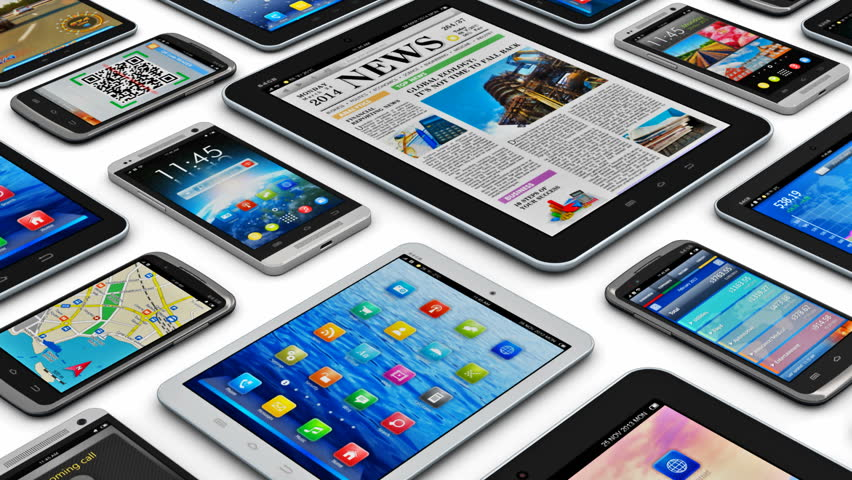 Mobility and digital wireless communication technology business concept: set of tablet computer PC and smartphones or mobile phones with colorful display screen interfaces isolated on white background   Shutterstock HD Video #8144629