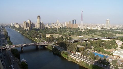 Qasr al-Nil Bridge general view. Cairo is the capital of Egypt and the largest city in the Middle-East and second-largest in Africa after Lagos.