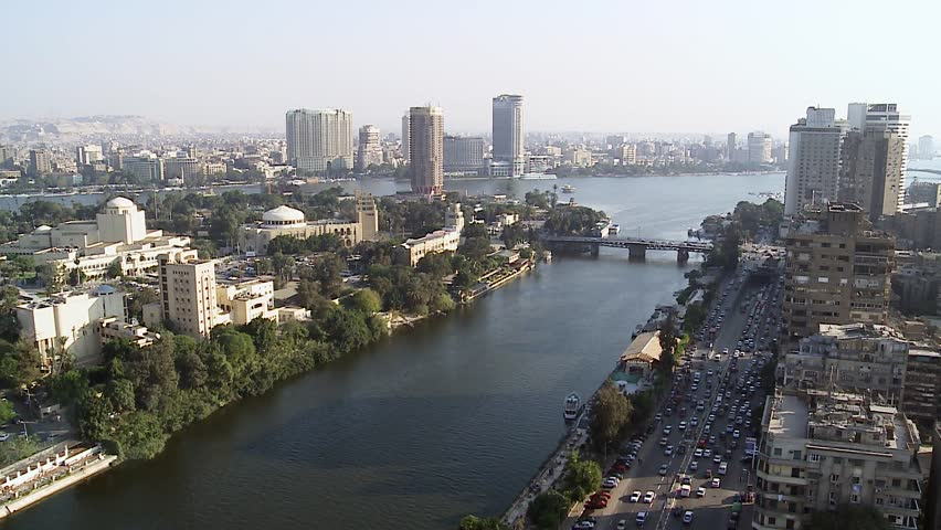 General view of Cairo and Nile. Cairo is the capital of Egypt and the largest city in the Middle-East and second-largest in Africa after Lagos.