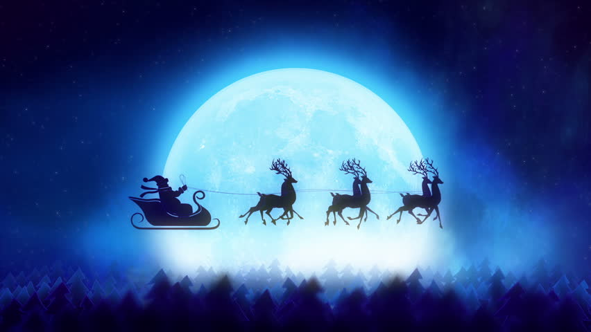 santa with reindeer flying over the trees christmas concept hd stock footage clip - Santa With Reindeer