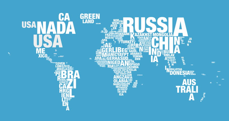 Word Cloud of World Map Stock Footage Video (100% Royalty free