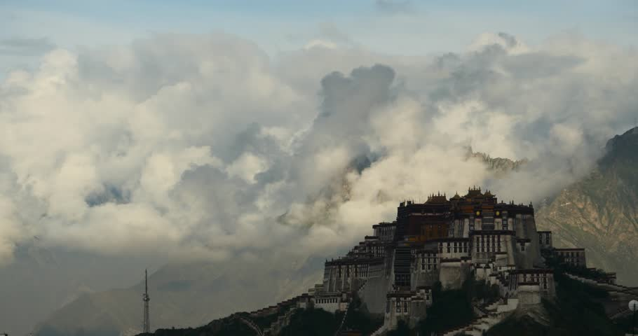 4k Potala Palace in the morning,mountains surrounded by clouds. gh2_08677_4k