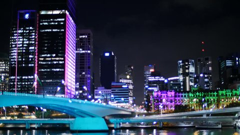 Brisbane, Queensland, Australia. November 2014. Brisbane G20 Festival of Light TL 2. .Color Me Brisbane saw 32 city buildings decorated with colored lights created by leading designers and artists. Brisbane, Queensland, Australia. November 2014.