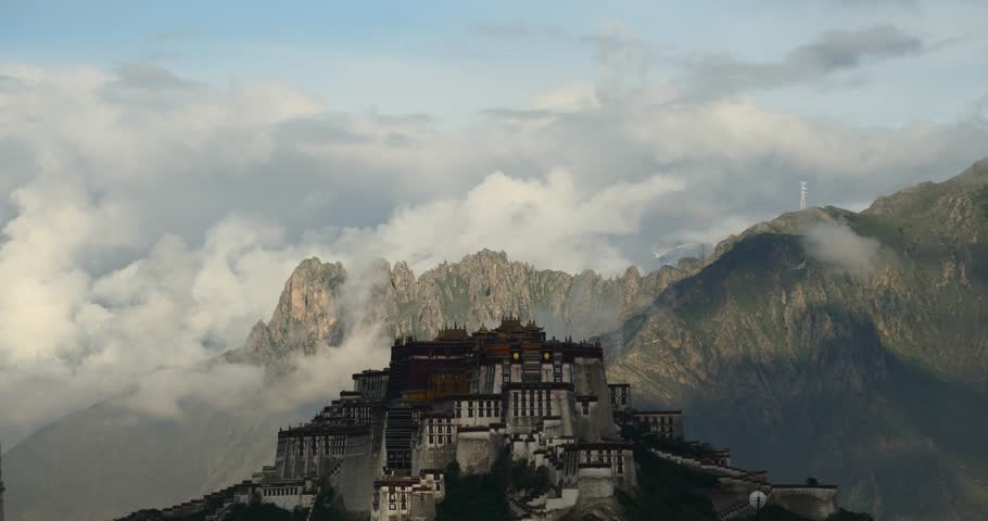 4k Potala Palace in the morning,mountains surrounded by clouds. gh2_08671_4k