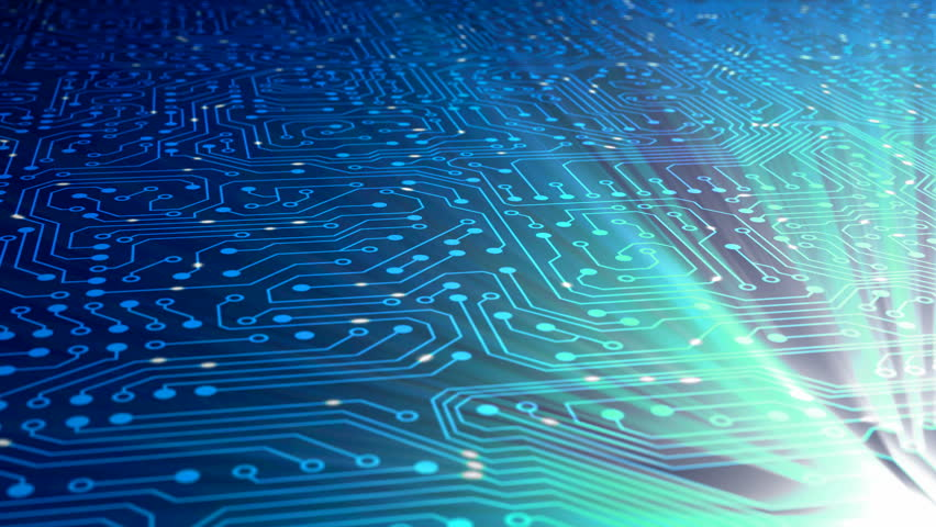 Fly above data stream with chip. Clip contains data, data stream, transfer, communication, circuit board, calculating, network, computer, information, cyberspace.   Shutterstock HD Video #822985