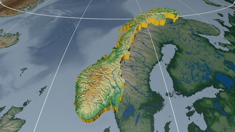 Norway extruded on the world map with graticule. Rivers and lakes shapes added. Colored elevation and bathymetry data used. Elements of this image furnished by NASA.