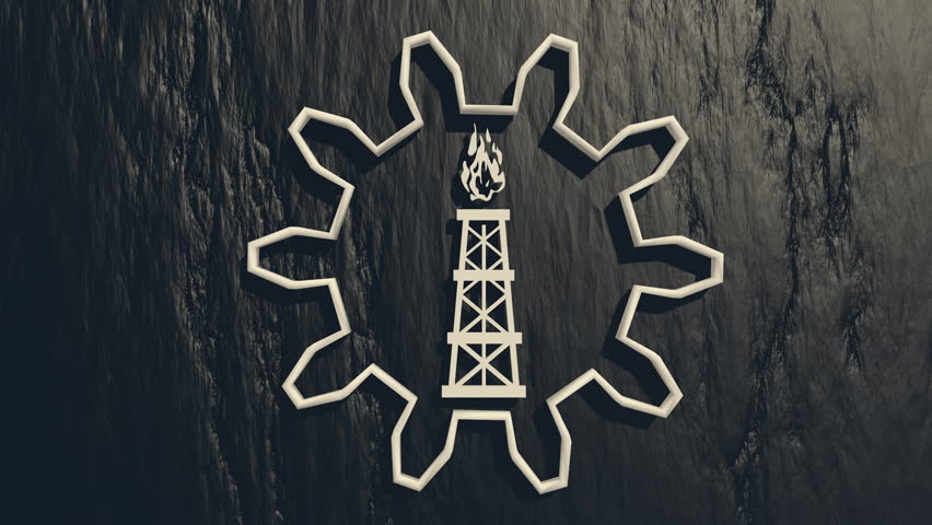 Gas rig model in the center of rotated gear on charcoal backdrop | Shutterstock HD Video #8236996