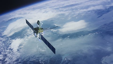 Communications satellite orbiting planet earth, slowly moving up.