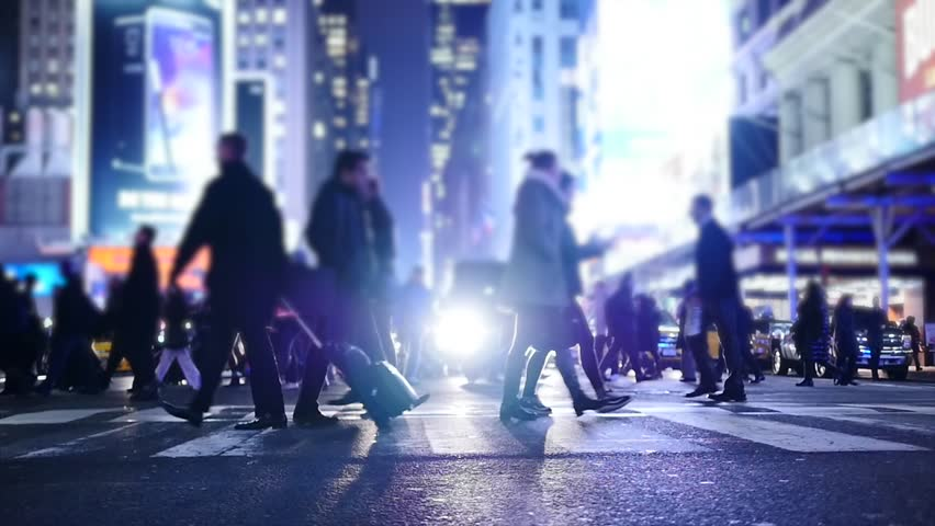 People crossing crosswalk in city. new york city night lights background | Shutterstock HD Video #8258149