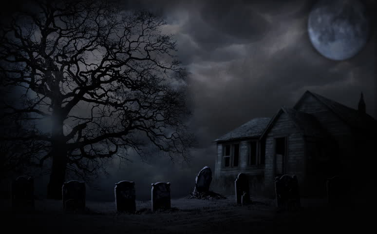 spooky halloween haunted house animation with full moon and graveyard hd stock video clip - Halloween Background Video