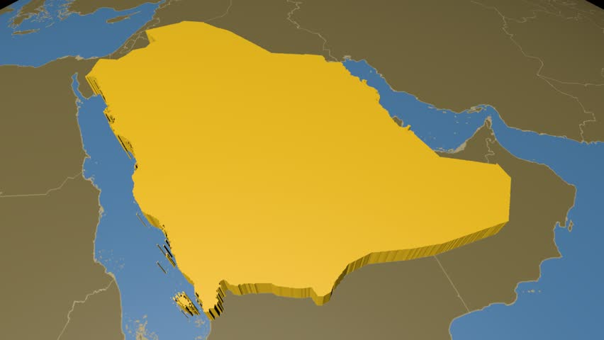 Saudi Arabia Extruded On The World Map With Administrative Borders Solid Colors Used