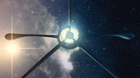 Spaceship flying overhead.