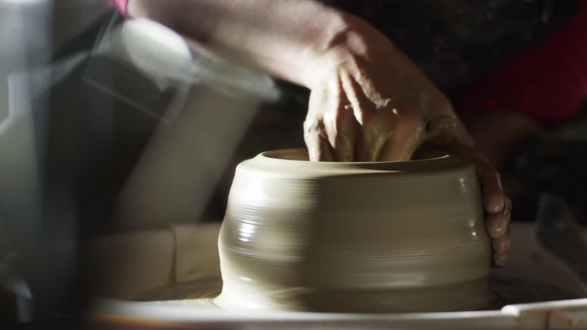 stock video footage potter, ceramist, thrower 4k