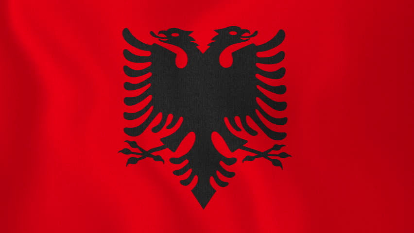 National Flag Of Albania Flying And Waving On The Wind Sate - Albania flag
