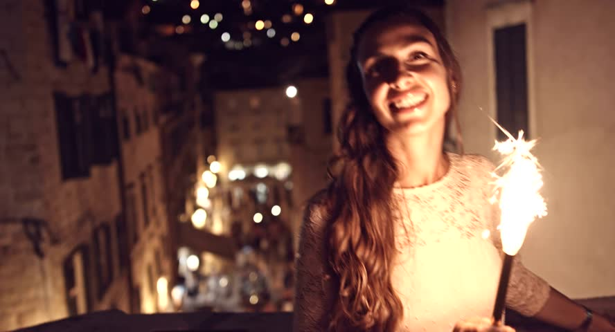 Celebration Happy Young Woman Birthday Dancing Party Sparks Sparkler Fire Smiling Joy Cheerful Travel Happy Uhd 4K