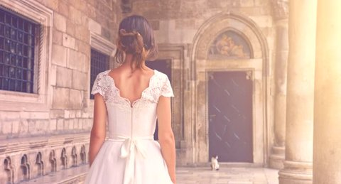 Gorgeous Fairy Tale Vintage Bride Dress Woman Walking Princess Sun Flare Medieval Castle Nobility Uhd 4K