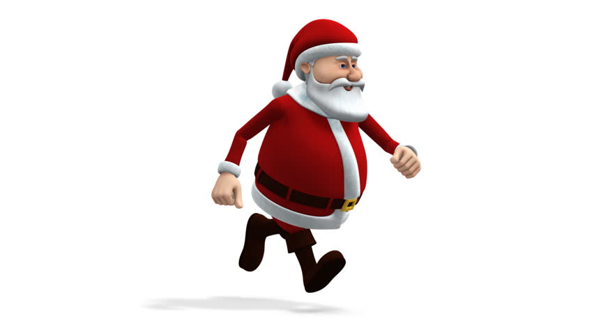 Cartoon santa claus balancing presents walk cycle