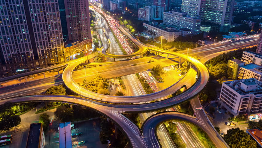 City highway interchange closeup , time lapse of guangzhou huangpu overpasses at night ,4K.