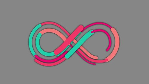 Colorful INFINITY SYMBOL ANIMATION. Ideal for intro, transitions, movies, news, commercials, TV shows, naive art related projects etc The animation Includes ALPHA MATTE for easy background replacement