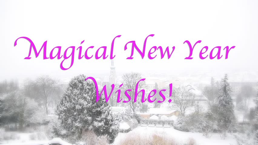 nostalgic and romantic view with snow falling new year celebration background animated text magical new year wishes winter landscape