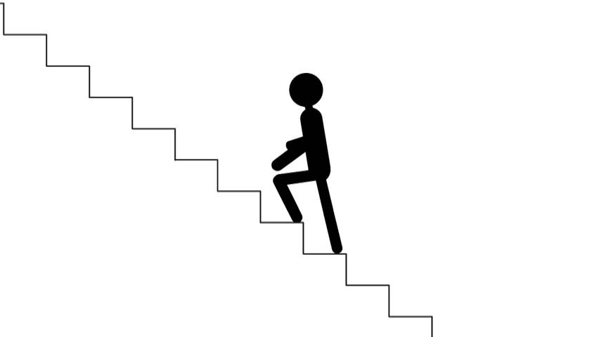 On The Stairs Man Walks On The Stairs 2d Animated Cartoon