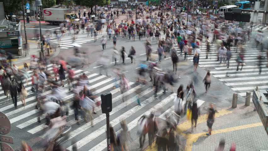 TOKYO - OCTOBER 2014 : Crowds of people at the famous Scramble pedestrian intersection, Tokyo, Japan. OCTOBER 09, 2014 #8352988
